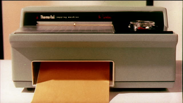 1958 cu zo thermo-fax photocopier machine copying document / usa / audio - photocopier stock videos and b-roll footage