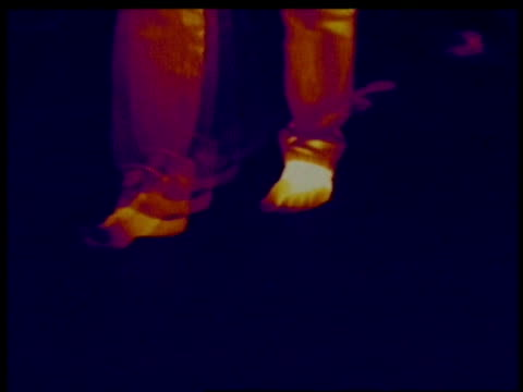 thermographic image, cu feet walking into frame to camera, leaving thermal footprints, identical shots with info bar on db 302 - thermal imaging stock videos & royalty-free footage