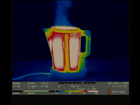 thermographic image, kettle changes colour while boiling without lid - brodelnd stock-videos und b-roll-filmmaterial