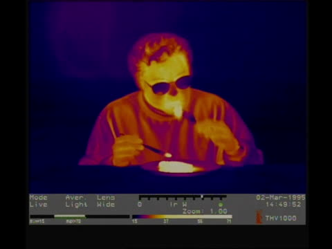 thermographic imaging, mcu man eating hot pie - scientific imaging technique stock videos & royalty-free footage