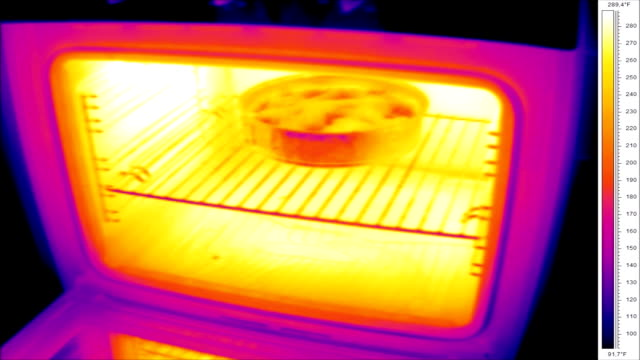 thermographic timelapse of oven - thermal imaging stock videos & royalty-free footage