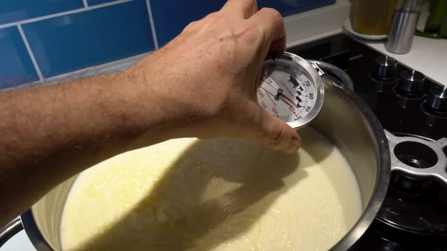 thermometer inside the pot of boiled milk for making yoghurt. - cheese stock videos & royalty-free footage