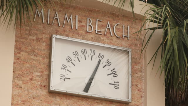 thermometer on south beach in miami - south beach stock videos & royalty-free footage