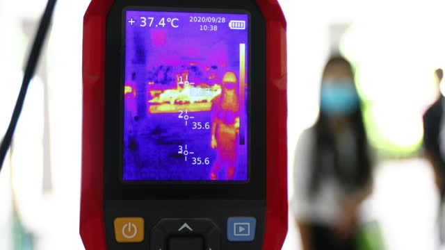 thermoscan infrared camera measuring body temperature for prevention of novel coronavirus ncov ( covic-19) pandemic - thermal imaging stock videos & royalty-free footage
