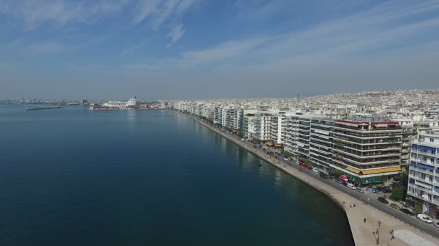 thessaloniki viewed from the air - thessalonika stock videos & royalty-free footage