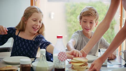 they love their pancakes - breakfast stock videos & royalty-free footage