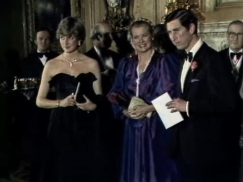 they were at a gala evening at goldsmith's hall to raise funds for the royal opera house / lady diana princess grace of monaco and prince charles... - formal stock videos & royalty-free footage