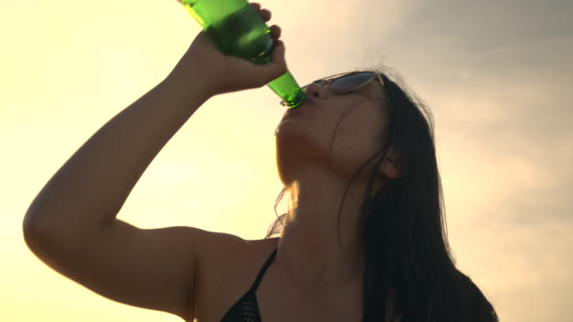 they were talking and drink beer on the beach. - festival goer stock videos & royalty-free footage