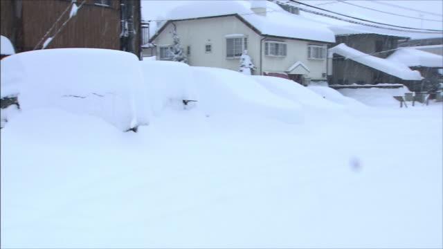 vídeos de stock, filmes e b-roll de thick accumulation of snow on roofs and cars - grosso