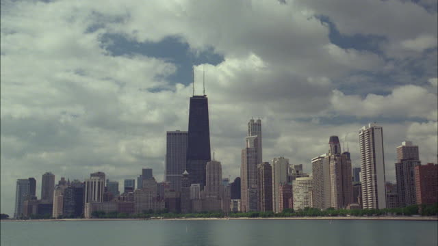 Thick clouds float over the Chicago skyline.