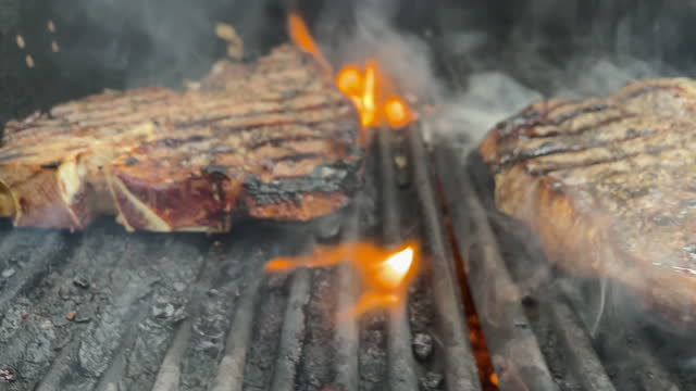 thick cut raw seasoned beef t-bone steaks on a charcoal grill with flames 4k video - metal grate stock videos & royalty-free footage