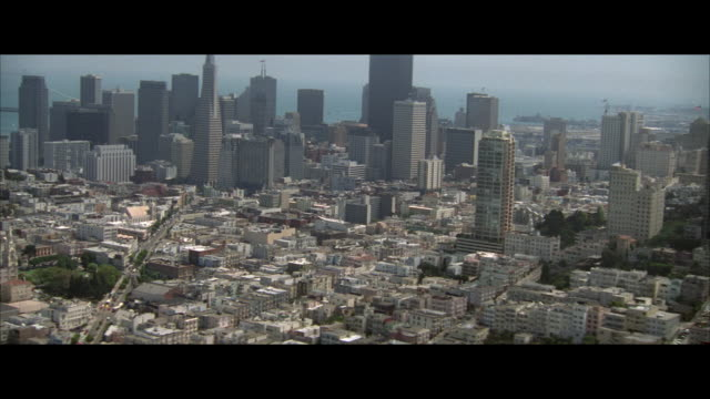 aerial thick fog, downtown district, san francisco, california, usa - letterbox format stock videos & royalty-free footage