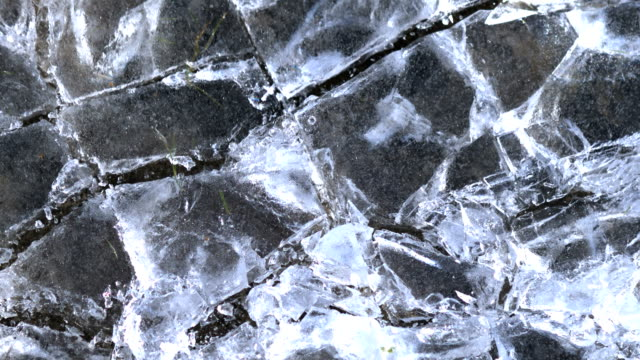 Thick piece of ice hitting the ground and shattering, slow motion