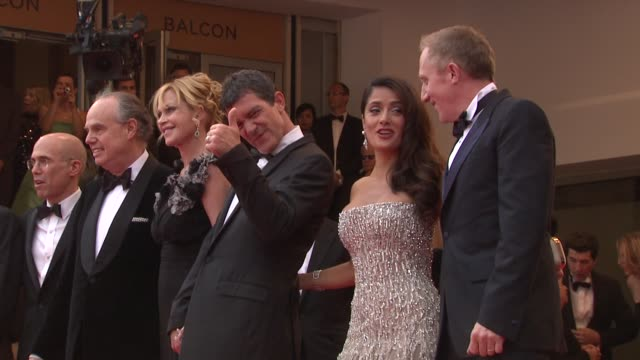 thierry fremaux jeffrey kattzenberg frederic mitterrand melanie griffith antonio banderas salma hayek and francois henri pinault at the opening night... - melanie griffith stock videos and b-roll footage