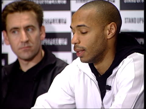thierry henry in new antiracism campaign england london int lmsthierry henry sitting at 'stand up speak out' press conference zoom in thierry henry... - nike designer label stock videos and b-roll footage