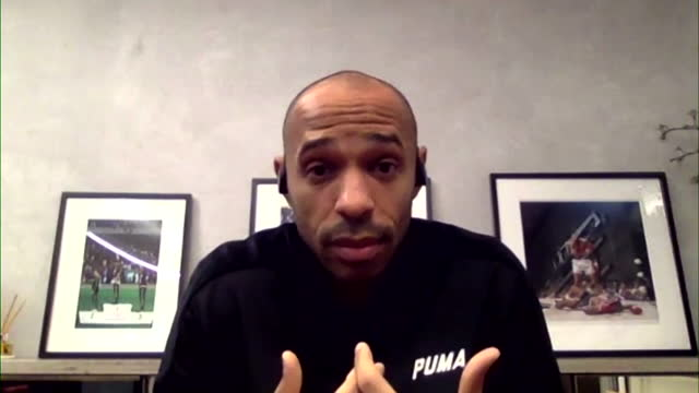 """thierry henry saying """"things haven't changed too much"""" in regards to racism during his 20-year footballing career - montréal stock videos & royalty-free footage"""