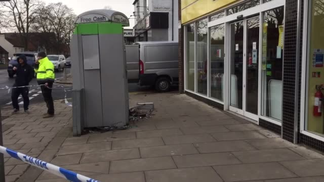 thieves have blown up a cash machine in darlington, four months after a similar raid in the town. police believe the suspects filled the machine... - darlington nordostengland stock-videos und b-roll-filmmaterial