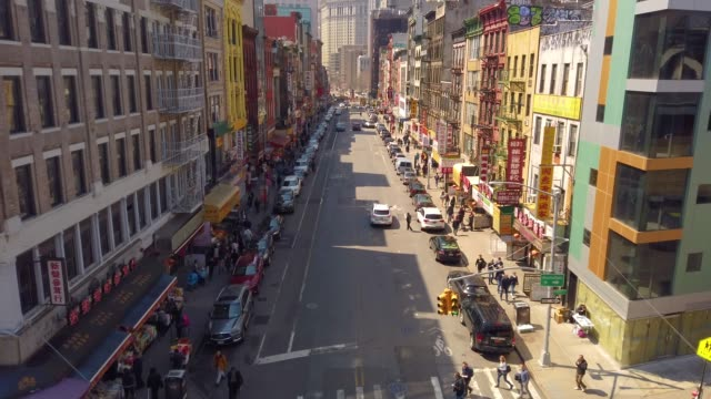 thigh angle view of china town, manhattan, new york, usa - chinatown stock videos & royalty-free footage