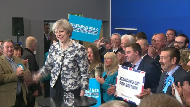 think tank says two thousand pound tax rises needed to prevent an nhs crisis lib / 762017 norfolk norwich int various of prime minister theresa may... - allgemeine wahlen stock-videos und b-roll-filmmaterial