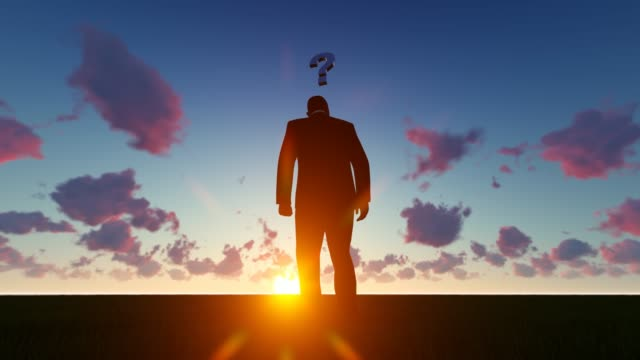 thinking man at sunset - question mark stock videos & royalty-free footage