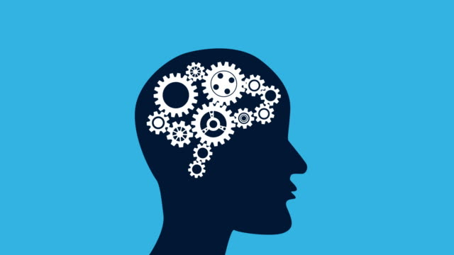 thinking video animation:gear and brain - engine stock videos & royalty-free footage