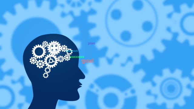 thinking video animation:gear and brain - head up display parte di veicolo video stock e b–roll