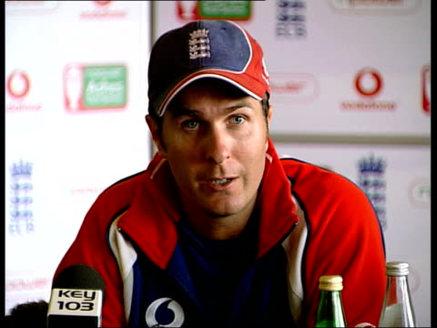 third ashes test speculation england manchester old trafford michael vaughan press conference sot freddie was match winner at edgbaston but there are... - cricket team stock videos and b-roll footage