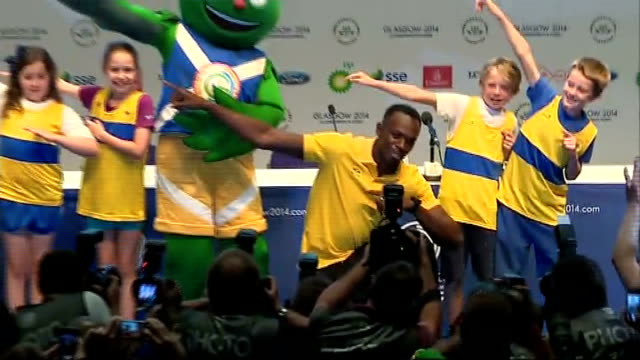 Third day of competition Bolt and children at photocall Usain Bolt press conference SOT