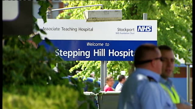 third patient dies after contamination of saline solution england greater manchester stockport ext security guards on duty outside stepping hill... - stockport bildbanksvideor och videomaterial från bakom kulisserna