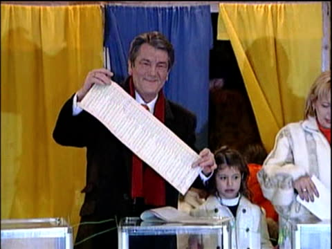 third president of ukraine viktor yushchenko votes at polling station with wife and family mar 06 - 2006 stock videos & royalty-free footage