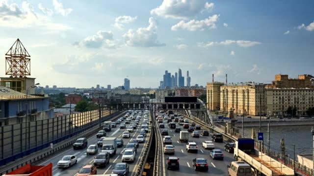 third ring road, moscow - 渋滞点の映像素材/bロール