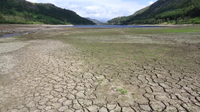 thirlmere reservoir which is drying up rapidly due to the ongoing dry weather leading united utilities to introduce a hosepipe ban. july 2018, with old walls revealed by the low water level. - reservoir stock videos and b-roll footage