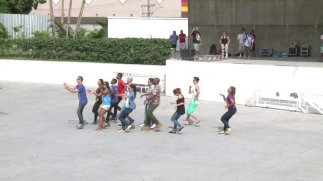 thirty cariocas met sunday at rios park madureira for a flash mob launched by brazilian choreographer carlinos de jesus - flash mob stock videos and b-roll footage