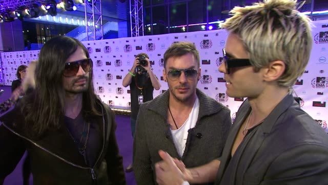 thirty seconds to mars, jared leto on being at the emas and the help that mtv have been for them . - mtv europe music awards stock videos & royalty-free footage