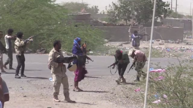thirty two combatants were killed wednesday in the battle for a key coastal town in western yemen between government forces and shiite huthi rebels... - yemen stock videos and b-roll footage