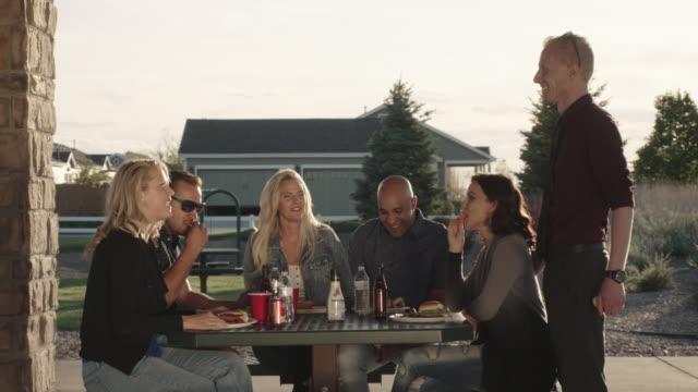 Dreißig-etwas Freunde genießen Outdoor-Dinner-Party