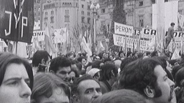 this 16mm images were taken in front of the presidential palace of buenos aires the the day in which hector j cámpora became president of argentina... - casa rosada stock-videos und b-roll-filmmaterial