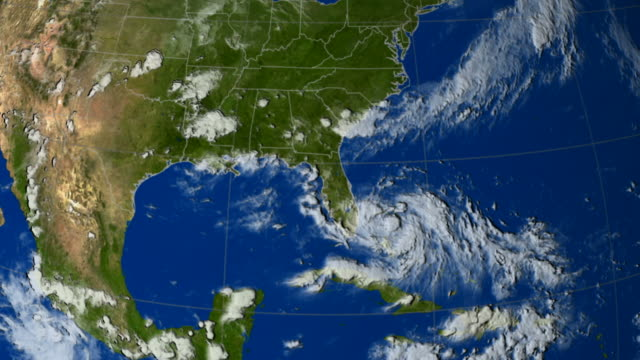 stockvideo's en b-roll-footage met this animation shows hurricane katrina as seen by noaa/goes-12 infrared band from 23rd august through 30th august 2005 - meteorologie