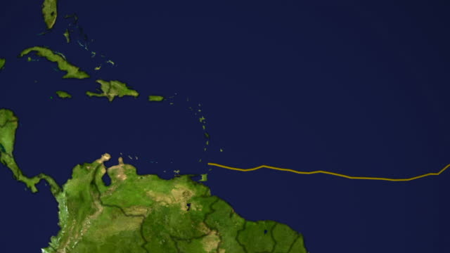 This animation shows the track of hurricane Ivan, in yellow, and a track in green showing the path of Ivan as predicted by the fvGCM model.