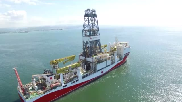 this archive footage provided by turkish energy ministry on october 30 2018 shows turkish drilling vessel fatih which set off for its first deep... - mediterranean turkey stock videos and b-roll footage