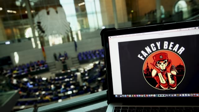 this artwork found on the internet showing fancy bear is seen on the computer of the photographer during a session in the plenary hall of the... - hacker stock videos and b-roll footage