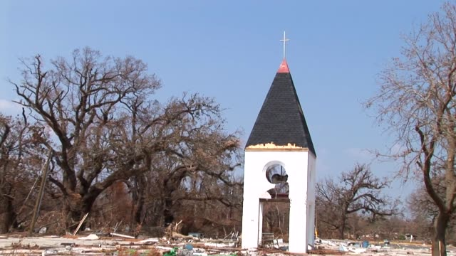 this church steeple is all that remains of the church that overlooked the ocean in waveland, mississippi - steeple stock videos & royalty-free footage