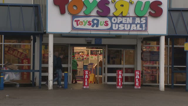 this clip contains a black gap - third party content removed. voiced: toys r us has been saved from collapse after creditors supported a rescue deal... - toys r us stock videos & royalty-free footage