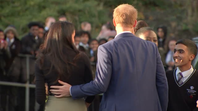 this clip contains a black gap third party content removed voiced megham markle got her first taste of royal life this afternoon on her debut... - prince harry stock videos & royalty-free footage
