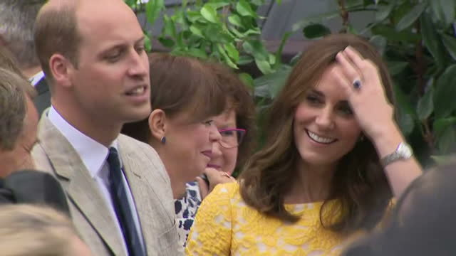 this clip contains audio of reporter narration throughout. clean: exterior shots of the duke and duchess of cambridge visiting heidelberg and crowds... - ハイデルベルク点の映像素材/bロール
