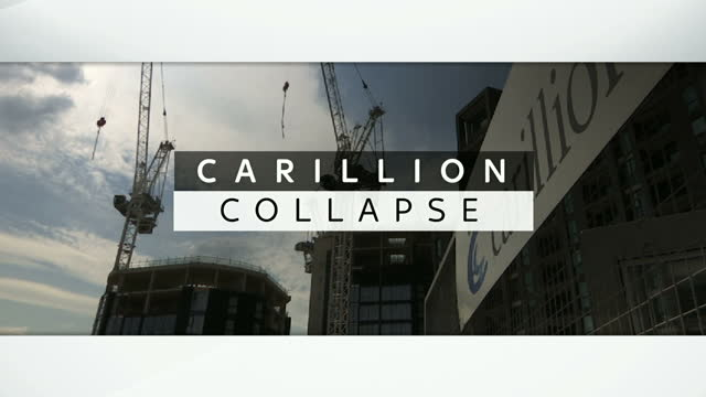 This clip contains black gaps third party content removed VOICED Carillion the UK's second largest contracting firm and one of the biggest suppliers...