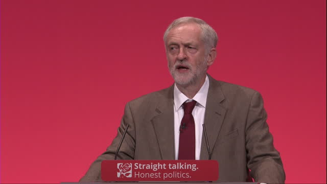 this clip contains flash photography. voiced: labour leader jeremy corbyn has used his inaugural conference speech to to promise a new kind of... - politics and government stock videos & royalty-free footage