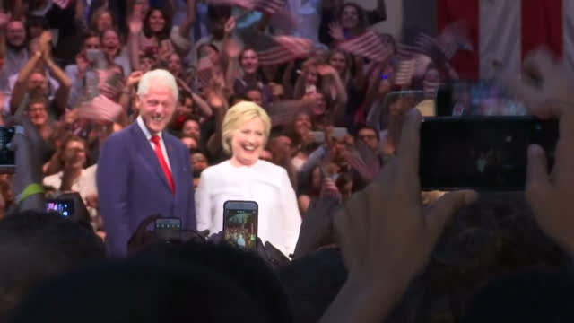 this clip contains music playing in the background that may require additional clearance. clean: interior shots of democratic party nominee hillary... - nominee stock videos & royalty-free footage