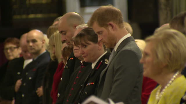 This clip contains music that may require additional thirdparty clearances CLEAN Interior shots of Prince Harry attending the London Fire Brigade...