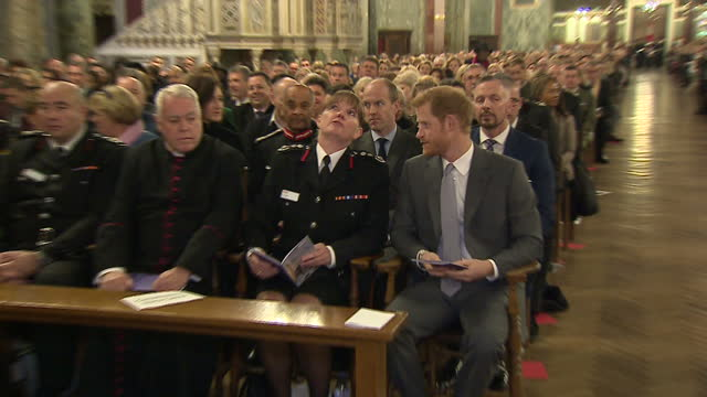 this clip contains music that may require additional thirdparty clearances clean interior shots of prince harry taking his seat and speaking with... - brigade stock videos & royalty-free footage